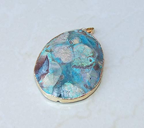 Ocean Jasper Faceted Pendant - Ocean Jasper Druzy Faceted Pendant - Blue, Mint Green, Rose Color Matrix- Gold Plated Edge and Bail 55mm - 60mm
