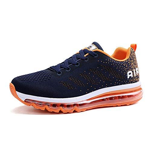 Zapatillas de Aire para Hombres y Mujeres Zapatos Ligeros para Caminar Gimnasio Correr Fitness Atlético Casual Azul Naranja 41
