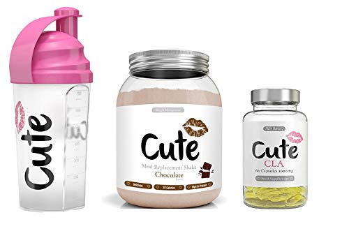 Cute Nutrition Chocolate Meal Replacement Shake with Shaker and CLA Capsules Weight Loss Control Powder Form Diet Drink for Women