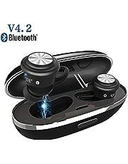4.2Bluetoothイヤホン Bluetoothヘッドセット ワイヤレスイヤホン 両耳型 タッチボタン操作 IPX4防水 マイク内蔵 充電収納両用ケース付き ハンズフリー通話 高音質 ノイズリダクション 長時間使用可 IPhone&Androidなどに対応 日本語説明書付