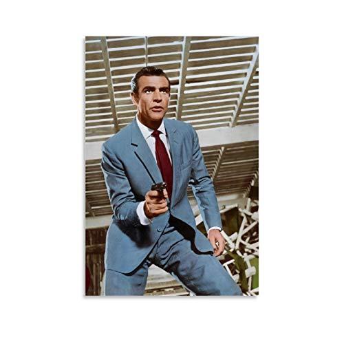 NQSB Film Stars Sean Connery 007 James Bond 10 Poster decorativo su tela da parete per soggiorno, camera da letto, 50 x 75 cm