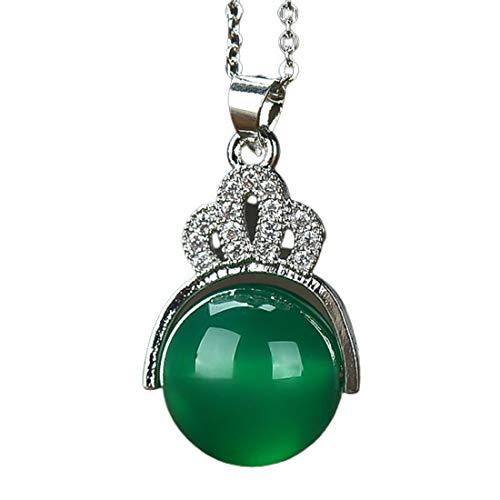 Collar de plata con colgante de piedra de jade verde redonda, para mujer