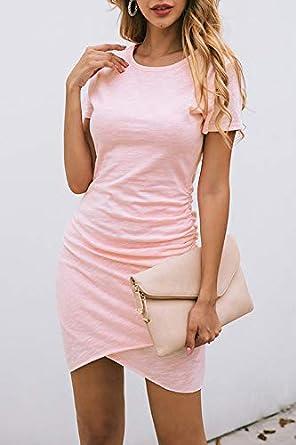 NSQTBA Womens Dresses Long Sleeve Round Neck Casual Bodycon Mini Dress