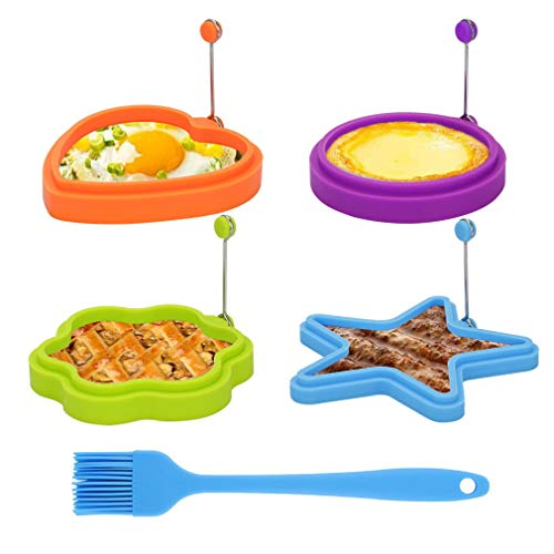 Egg Ring, TGJOR Egg Cooking Rings, Round Pancake Mold, Non Stick Silicone Ring for Eggs, 4 Pack Reusable Fried Egg Mold with an Oil Brush (multi shapes)