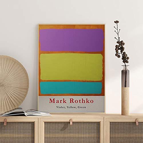 Póster de exposición de Mark Rothko, violeta amarillo-verde, decoración de pared, arte abstracto, pintura decorativa sin marco en lienzo P 60x80cm