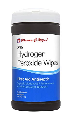 Pharma-C-Wipes 3% Hydrogen Peroxide Wipes (6 Canisters of 40 Wipes for a Total of 240 Wipes)