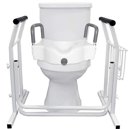 Vaunn Medical Raised Toilet Seat and Safety Frame Rail Bundle