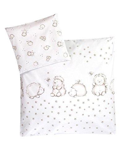 Julius Zöllner Bettwäsche Igelchen 35x40 / 80x80 cm - Bettwäscheset für Babys aus reiner Baumwolle - ideal für zarte Babyhaut - weiß/taupe
