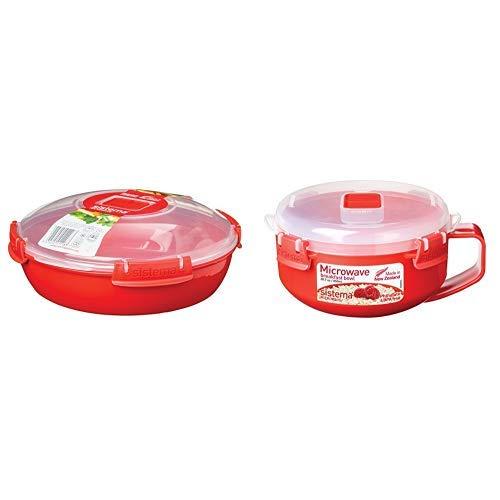 Sistema Microwave Teller, 1,3l, rot & Microwave Frühstücksschale, 850ml, rot/transparent