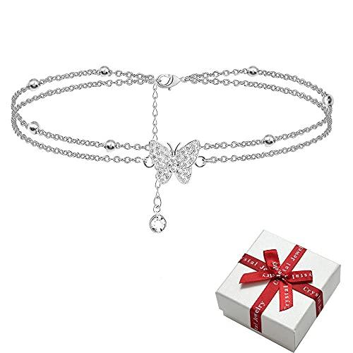 Tobilleras de plata de mariposa de 14 quilates para mujer – tobilleras ajustables para mujer – joyería tobillera regalos para mujeres adolescentes y niñas (incluye caja de regalo), Plata de ley,