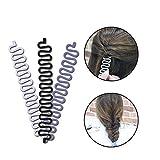 Clip de pelo francés, 3 piezas herramienta de torsión de pelo trenzado trenzado trenzado herramienta para chica señora DIY moño peinado (negro + blanco + gris)