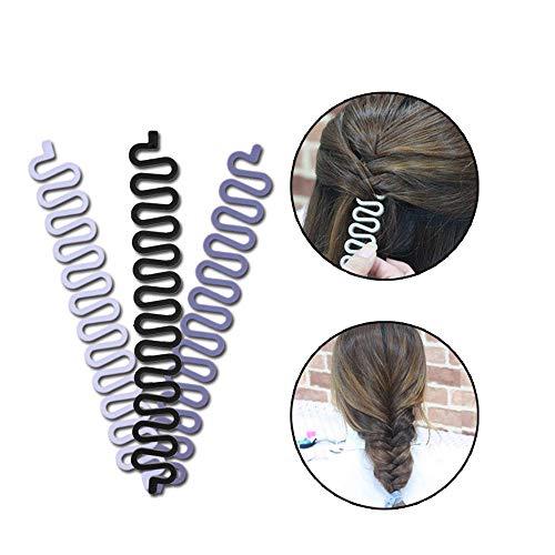 Französische Haarstyling-Clip, 3 Stück, Haar-Zopf-Werkzeug für Mädchen und Damen, zum Selbermachen von Duttfrisuren (schwarz + weiß + grau)