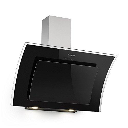 KLARSTEIN Sabia - Hotte aspirante, 600m³/h, 3 vitesses Filtres à graisse, Eclairage LED, Verre de sécurité, Kit de montage complet, Ecran télescopique, 90 cm - Noir
