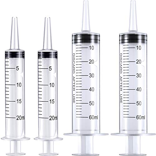 4 Packs Plastic Syringe with Measurement Oral Liquids Measuring Syringes Without Needle for Medicine Resin Epoxy Dispensing Watering Refilling