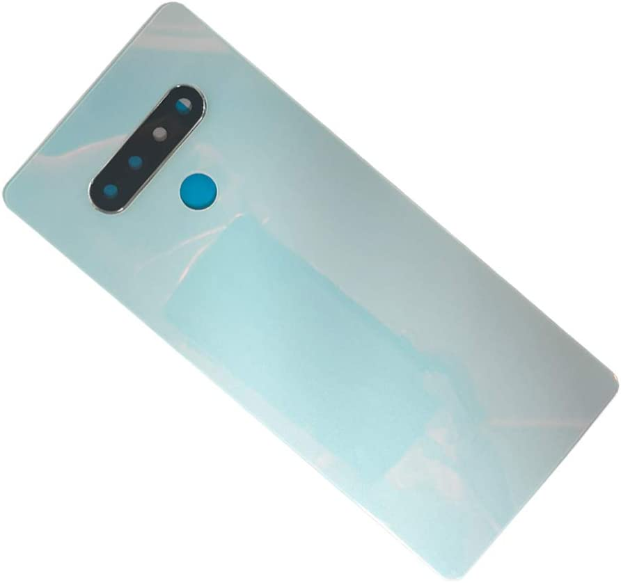 White Housing Cover Rear Genuine Glass Battery Cover Door with Camera Glass Lens Cover Frame Adhesive Replacement for LG Stylo 6 Q730