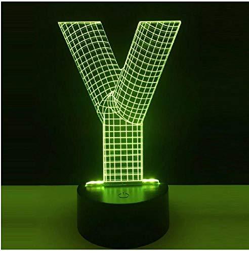 Lámpara 3D Alfabeto Letra Y Rgb 7 colores Linternas Atmósfera Luz de noche Led Usb Touch Decoración del hogar Lámpara para niños
