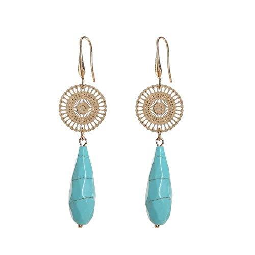 DJMJHG Pendientes Largos Colgantes de Piedra Joyería de Moda Pendientes Colgantes de Lujo para Mujer Pendientes Bohemios PendientesTurquía Azul