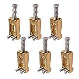 6 Stück Gold Farbe Rechteckige E-Gitarre Tremolo Brücke Saiten-Sättel Ersatzteile
