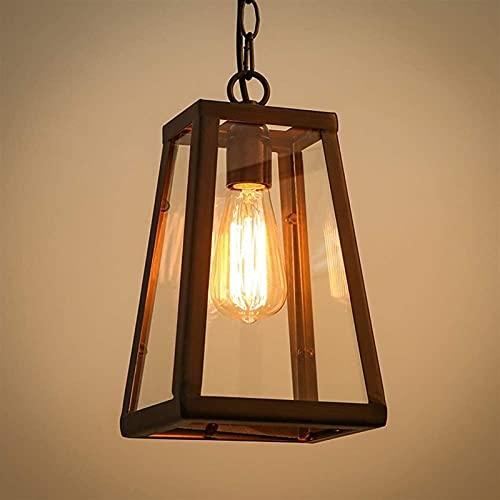 BHJH7 Buiten Hanglamp Zwart Retro IP44 Hanglamp Plafond Vintage Industrieel Lamp Regendicht Waterdicht Paviljoen Villa Loft Kroonluchter Buitenlamp Ijzer + Glas