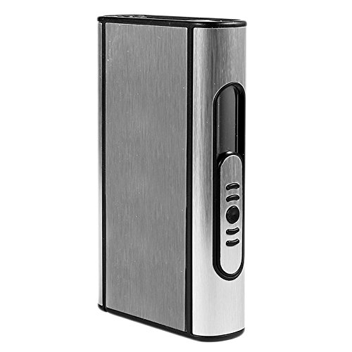 Caja de cigarrillos de plata elegante moderna elegante portátil automático 10 cigarrillos...