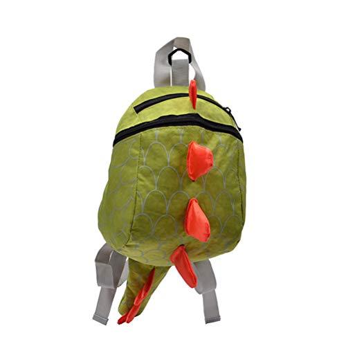 TENDYCOCO Kinder Sicherheit Schultasche Cartoon Kinder verstellbare rucksäcke mädchen Jungen Casual Anti-verlorene Dinosaurier Schultasche (grün)