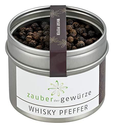 Zauber der Gewürze Whisky Pfeffer in Premium-Qualität - Grobes, scharfes Gewürz - Exotische, schwarze Pfefferkörner auch für die Mühle, 55 g