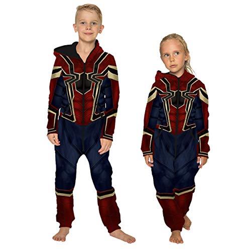 Leezeshaw キッズ 3D アイアンスパイダー プリント ワンシー寝間着,ボーイズ ガールズ スーパーヒーロースパイダーマン オールインワンフリースジャンプスーツ パジャマ ナイトウェア衣装