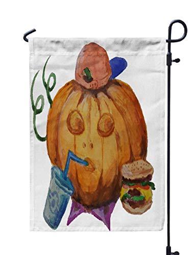 UIJDIAm Willkommen Garten Flagge Home Yard Dekorative 12X18 Zoll Aquarell Zeichnungen Kein Hintergrund Gezeichneter Kürbis Halloween Doppelseitige saisonale Gartenflaggen, Pfirsichgrau