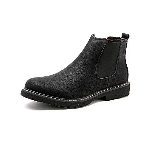 Xinkai Mens Chelsea Botas De Microfibra Caballero de Piel Zapatos de Invierno con la opción de Forro Polar (Color : Fleece Inside-Black, Size : 44 EU)