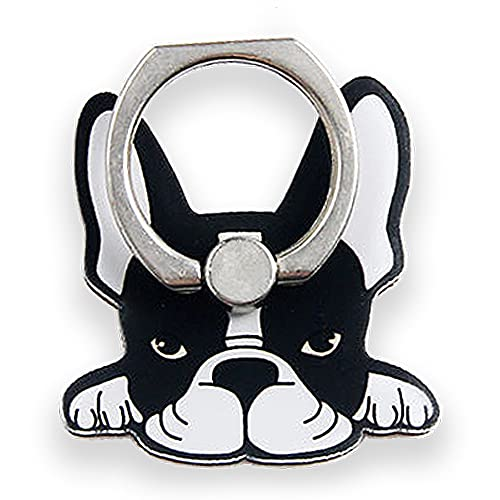 Cell Phone Ring Holder Stand, 360 Degree Rotation Universal Finger Ring Kickstand with Metal Grip [Compatible with Any Smart Phone - iPhone, Samsung, LG & More] French Bulldog 5 Types (Emotional)