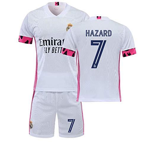 Kinder Erwachsene Fußball Trikot 20/21 Real Madrid Home/Away Game No.7 Jersey Und Shorts Anzug Trainingskleidung,1,M