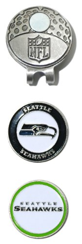 Team Golf 32847 NFL Seattle Seahawks Golf Cap Clip with 2 Removable Double-Sided Enamel Magnetic Ball Markers, Attaches Easily to Hats