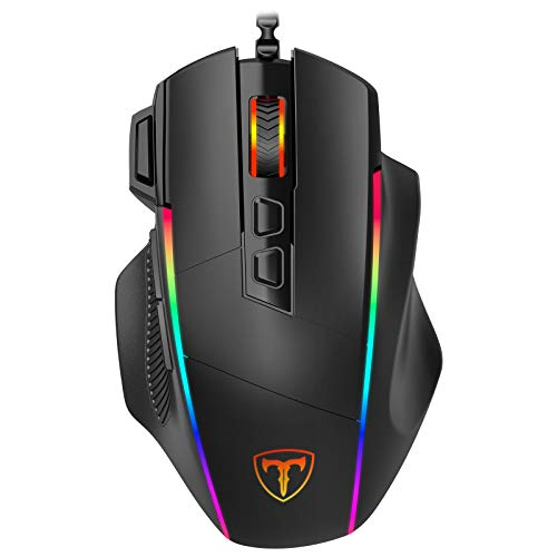 Gaming Maus, Ergonomisch RGB Maus, Holife 8000DPI & 8 programmierbar Tasten, Gamer Mouse mit komfortable Griff, PC | Laptop