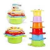 Badespielzeug Badespielzeug und Stapelbecher für Kleinkinder 6-teiliges Baby-Stapelbecher-Badespielzeug Seafood Fish Baby Bath Baby Frühes pädagogisches Spielzeug für Badespiel, Strand- und Poolparty