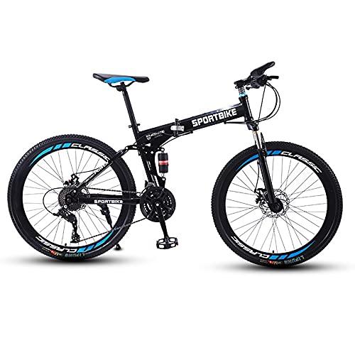 26in Adulti Mountain Bike Pieghevole, Bicicletta da Esterno Uomo Donna21/24/27 velocità Mountain Bike con Freni a Disco Sospensione Completa,27 Speed