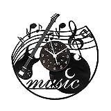 KingLive Music Vinyl Wall Clock Music Instrument Wall Art Black12 Inch Music Lover Gift