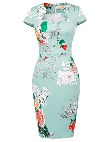 GRACE KARIN 50s Vintage Retro Damenkleider elegant festlich Rockabilly Kleid Knielang L CL7597-18