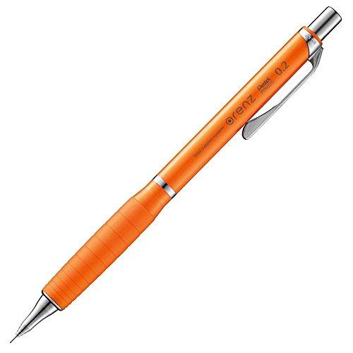 ぺんてる シャープペンシル オレンズラバーグリップ付き XPP602G-F オレンジ軸 0.2mm