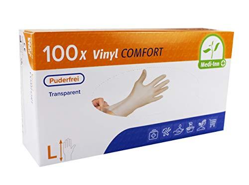Medi-Inn Vinyl puderfrei Einmalhandschuhe Größe L | 100 Stück | Vinylhandschuhe transparent in praktischer Spenderbox