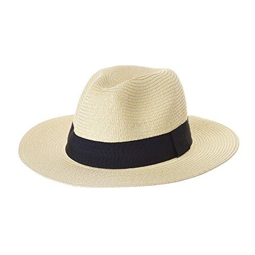 WITHMOONS Cappello Panama Fedora Panama Hat Black Banded Wide Brim Cool Summer SL6690 (Ivory)