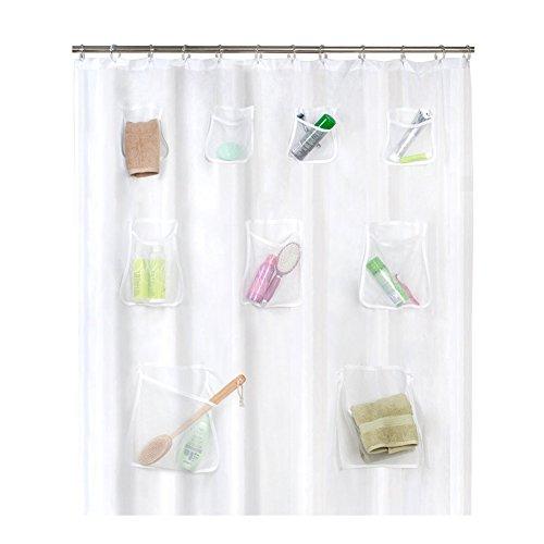 ROKOO Klar Duschvorhang PVC transluzent mit Taschen Wasserdichtes Badezimmer für iPad Tablet Handyhalter