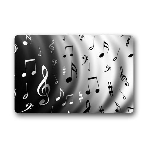 Felpudo antideslizante lavable a máquina con diseño de notas musicales