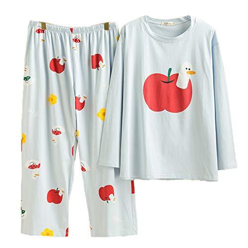 Oversize 5XL Pyjama Set Neue Sexy Nachtwäsche Baumwolle Langarm Home Service Plus...