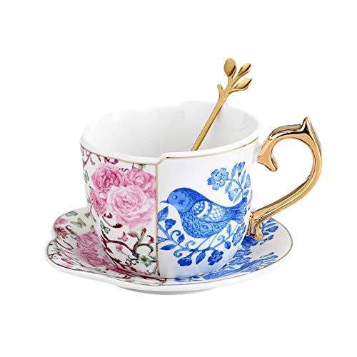 Ceramics Coffee Cup Saucers Suit Ins English Style Originality Black Tea Teacup Household Afternoon Tea Latte Black Coffee Mugs (D)