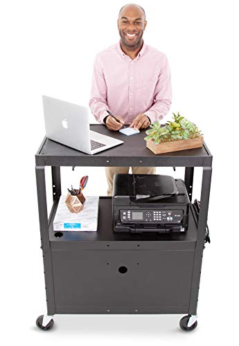 Line Leader Large AV Cart with Locking Cabinet | Height Adjustable Utility Cart | Includes Pullout Keyboard Tray & Cord Management | Easy Assembly (32in x 18in x 42in / Black)