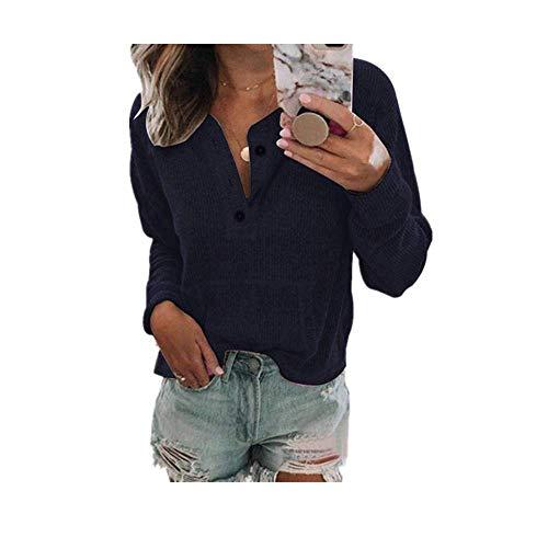 Nobrand Damen-T-Shirt, einfarbig, offener Knopf, langärmelig Gr. XL, dunkelblau