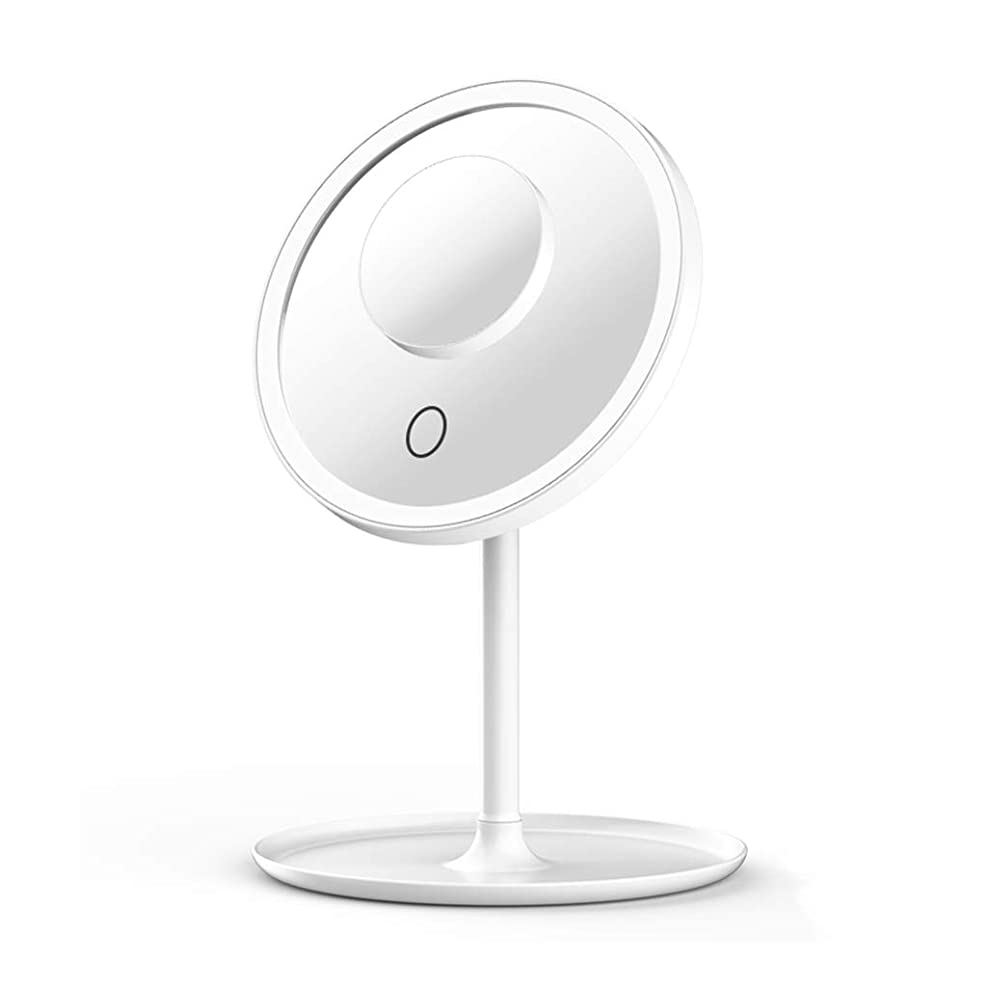 貫入足ホーン18センチ 丸型化粧鏡 ライト付き ポータブルLEDライトミラー 5倍拡大鏡とタッチスクリーンスイッチ付き 調整可能なLEDライト(明るさと色) USB経由で充電可能