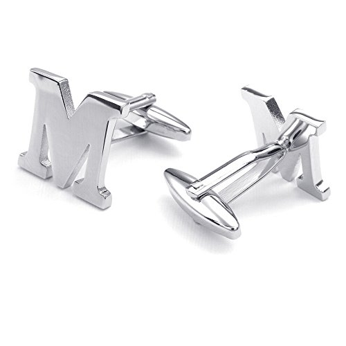 Mens Initial Alphabet Letter Silver White Steel Wedding Formal Business Cufflinks (M)