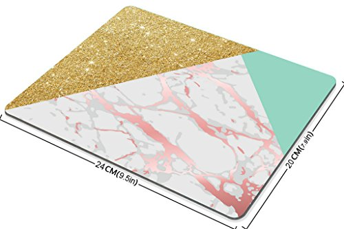 Smooffly Gaming Mouse Pad Custom Smooffly Rectangle Gaming Mouse Pad Personalized Custom Design,Blue Gold Glitter and Pink Marble Texture,Non-Slip Thick Rubber Large Mousepad Photo #3