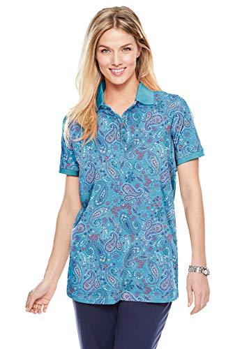 Woman Within Women's Plus Size Perfect Printed Short-Sleeve Polo Shirt - 4X, Soft Aqua Paisley